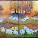 Astrid Linsenmayer, Díptico - Série Rebanhos 1999, Acrílico s/ tela, 80 x 60 cm(cada um)