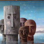 Walter Lewy; Cabeças1986, Óleo s/ tela, 40 x 50 cm