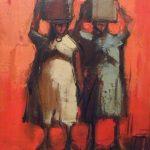 Armando Romanelli,  Retirantes, óleo s/tela, 28 x 23 cm