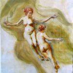 Tarsila do Amaral,  Figuras femininas , Guache s/cartão, 48 x 38 cm