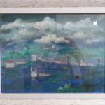 Alberto da Veiga Guignard, paisagem Mineira, Técnica mixta s/papel, 21 x 27 cm
