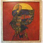 Nelson Jungbluth. Ogum, 1974. Óleo s/ tela com colagem, 100x100cm.