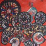 Rubem Gerchmann, óleo s/ tela, Cabeças/2002, 35cm x 35cm ,