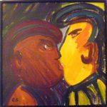 Rubens Gerchman. The kiss. Giz pastel s/ cartão, 39x49cm.