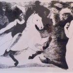 Vasco Prado,  Cavalo e mulheres, Serigrafia 76/100, 32 x 46 cm