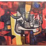 Roberto Burle Marx, Abstrato,  Painél de pintura s/cerâmica queimados pela GEA, 105 x 165 cm