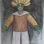 Mario Gruber, Fantasiado de Amarelo, guache aquarelado s/papel, 79 x 70cm