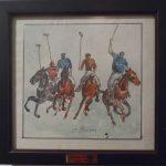 Oscar Crusius, Jogo de Pólo,  Óleo s/ eucatex, 17,5 x 19 cm