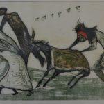 Danúbio Gonçalves, Festa com cabra 1963,  Xilogravura 8/10, 33 x 57 cm