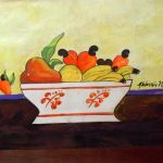 Aldemir Martins, Cesta de Frutas-1990, Acrílico s/papel, 40 x 50 cm