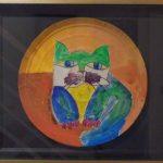 Aldemir Martins, Gato s/bandeja 2001, Acrilica s/papel, diâmetro 36 cm
