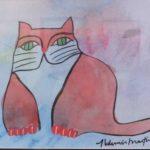 Aldemir Martins, Gato vermelho, Acrílico s/cartão, 30cm x 42cm