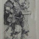 Rembrandt, Retrato 1635,  gravura s/metal, 9 x 5 cm
