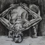 Roberta Agostini – Arqueamento – políptico carvão s/papel – 120 x 126 cm