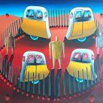 Eduardo Veira da Cunha, Quatro vagões, acrílico s/ tela, 114 x 148 cm
